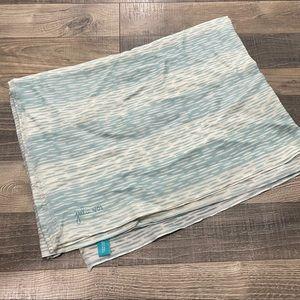 Julie Vos Teal Blue Rain Pattern Wool Scarf Wrap